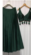 Dark Green Lehenga With Tassel Blouse